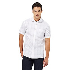 Maine New England - Big and tall white checked textured shirt