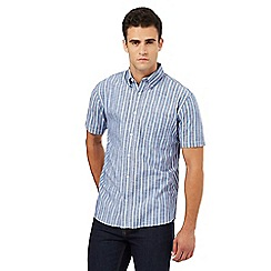 Maine New England - Navy chambray striped print shirt