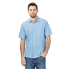 Maine New England - Big and tall turquoise striped linen blend shirt