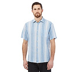 Maine New England - Big and tall blue linen blend ombre-effect striped shirt