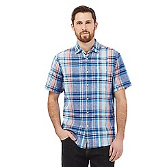 Maine New England - Blue linen blend checked print shirt