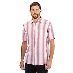 Maine New England - Big and tall pink striped print short sleeved shirt