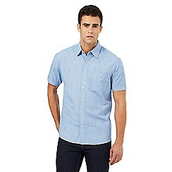 Maine New England - Blue textured short sleeved shirt
