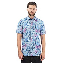 Maine New England - Big and tall blue floral print shirt