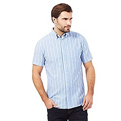 Maine New England - Blue chambray striped print shirt