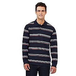 Maine New England - Navy striped print long sleeved polo shirt
