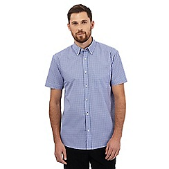 Maine New England - Blue mini checked print shirt