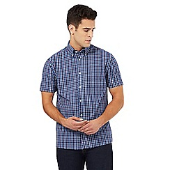Maine New England - Big and tall navy and purple checked print shirt