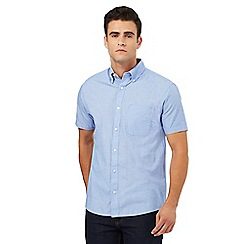 Maine New England - Pale blue square print short sleeved shirt