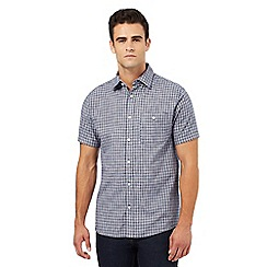 Maine New England - Navy broken checked print shirt