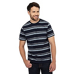 Maine New England - Navy herringbone striped print t-shirt