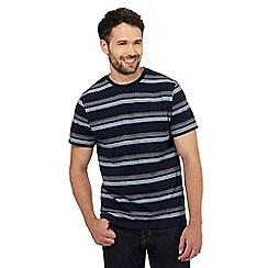 Maine New England - Big and tall navy herringbone striped print t-shirt