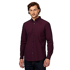 Maine New England - Dark red basketweave print regular fit shirt