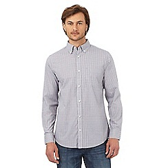 Maine New England - Big and tall light grey checked long sleeved shirt