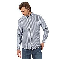 Maine New England - Navy highlight striped long sleeved shirt
