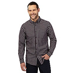 Maine New England - Big and tall dark red checked print tailored fit shirt