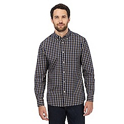 Maine New England - Big and tall navy and yellow checked print shirt