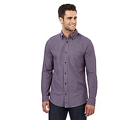 Maine New England - Dark purple puppytooth textured tailored fit shirt