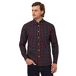 Maine New England - Navy tartan checked regular fit shirt