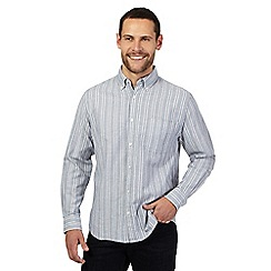 Maine New England - Big and tall grey striped regular fit shirt