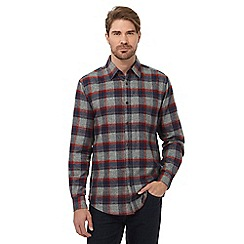 Maine New England - Grey chevron checked regular fit shirt