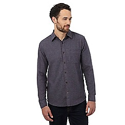 Maine New England - Big and tall dark grey herringbone striped shirt