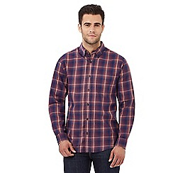 Maine New England - Big and tall dark blue checked print regular fit shirt