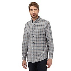 Maine New England - Big and tall grey checked regular fit shirt
