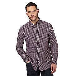 Maine New England - Dark orange checked regular fit shirt