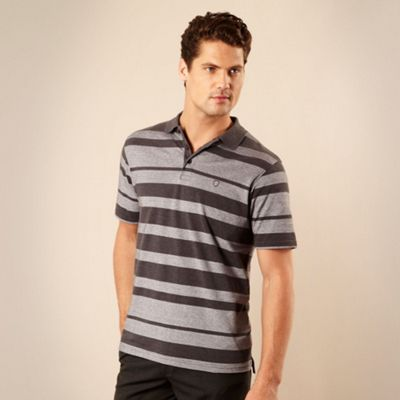 Grey mottled striped polo shirt
