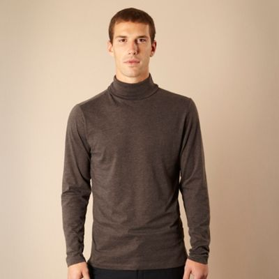 Big and tall dark grey roll neck top