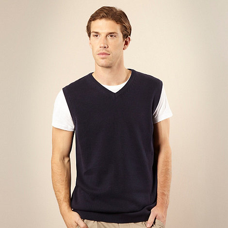 Maine New England - Big and tall navy V-neck tank jumper