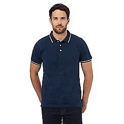 Maine New England - Dark blue birdseye textured polo shirt