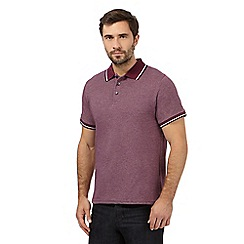 Maine New England - Dark red jacquard tailored fit polo shirt