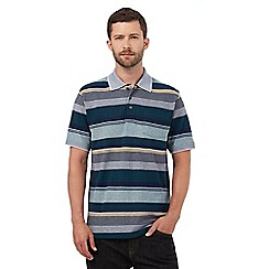 Maine New England - Green and navy textured striped print polo shirt