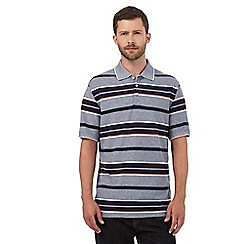 Maine New England - Big and tall navy textured striped print polo shirt