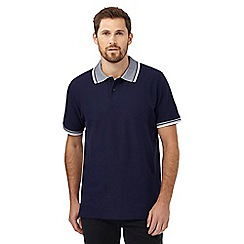 Maine New England - Big and tall navy jacquard collar polo shirt