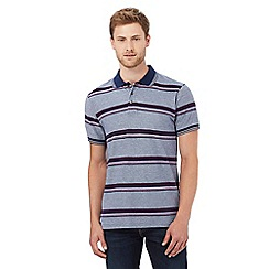 Maine New England - Mid blue birdseye stripe print tailored fit polo shirt