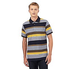 Maine New England - Navy textured block striped print polo shirt