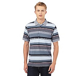 Maine New England - Blue and grey textured striped print polo shirt