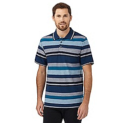 Maine New England - Big and tall dark turquoise striped polo shirt