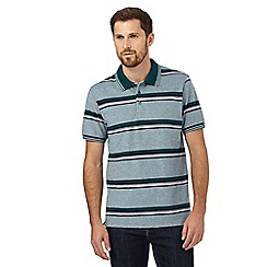 Maine New England - Big and tall green striped print polo shirt