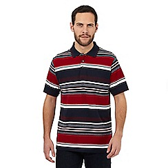 Maine New England - Big and tall dark red jacquard striped cotton polo shirt