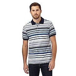 Maine New England - Blue striped print polo shirt