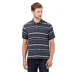 Maine New England - Dark grey striped print regular fit polo shirt