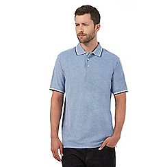 Maine New England - Blue textured polo shirt