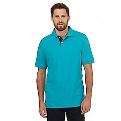 Maine New England - Turquoise contrast placket polo shirt