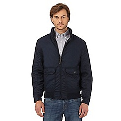 Maine New England - Big and tall navy herringbone textured jacket
