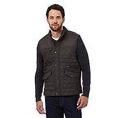 Maine New England - Dark green textured quilted button-up gilet