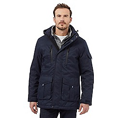 Maine New England - Big and tall blue textured herringbone waterproof coat